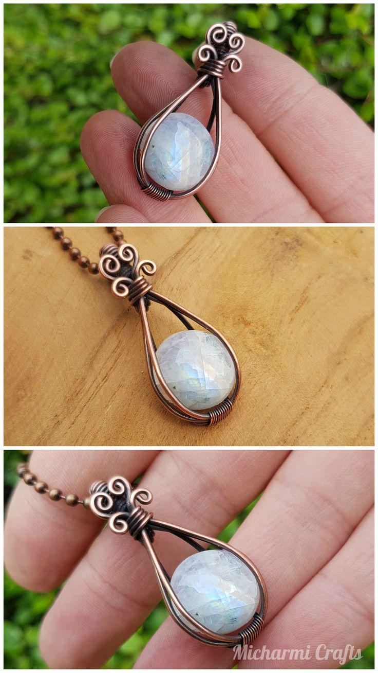 Elegant Rainbow Moonstone Pendant Necklace, Copper Wire Wrapped Gemstone Jewelry…