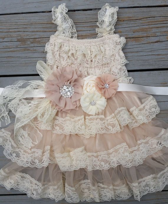 How adorable is this rustic lace pettidress!    *Tiers Of Beautiful Cream Wheat Lace!! Matching sash is INCLUDED!!! Sash is on satin ribbon and