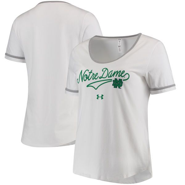 Notre Dame Fighting Irish Under Armour Women's Charged Cotton Novelty T-Shirt - White - $36.99