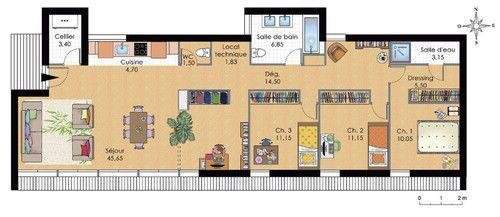 Maison de plain-pied contemporaine - Détail du plan de Maison de plain-pied contemporaine | Faire construire sa maison