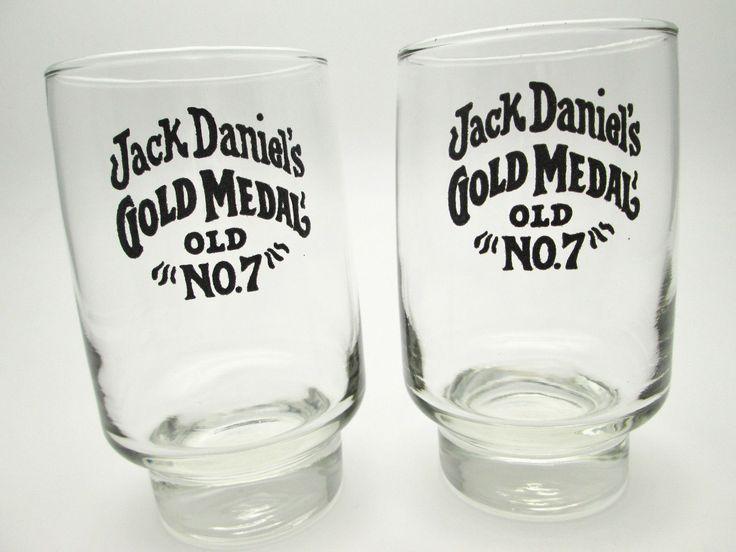 Vintage 1960's • Jack Daniels Gold Medal • Libbey Glasses Set High Relief Print