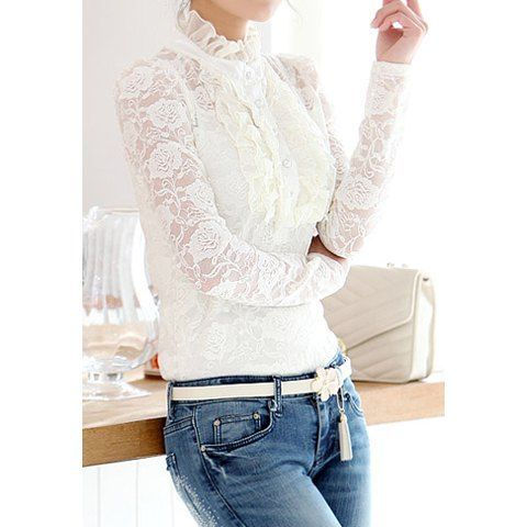 Elegant Style Turtle Neck Lace Splicing Flounce Solid Color Long Sleeve T-Shirt For Women