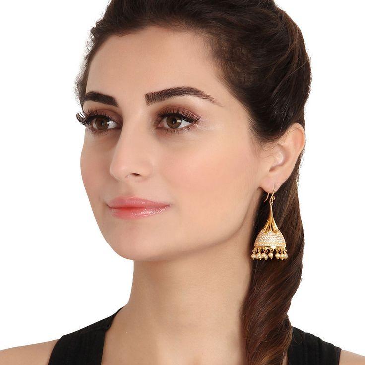 Zircon Earring 46024W  #Kushals #Jewellery #Fashion #Indian #Jewellery #Earrings #Designer #Jhumkis #modern #unique