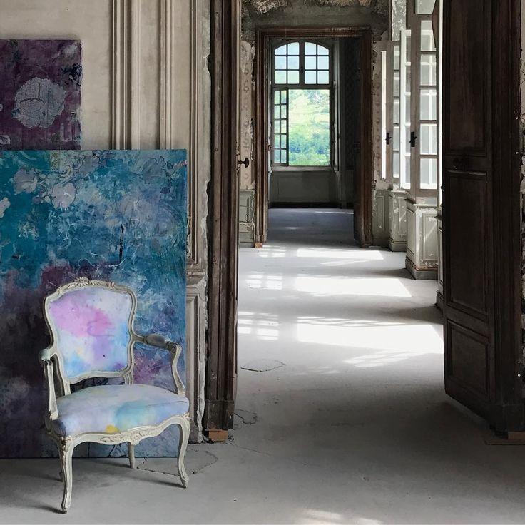Carolyn Quartermaine painting and painted Louis chair at Chateau Gudanes. South of France Fixer Upper Château Gudanes. #southoffrance #frenchchateau #provence #frenchcountry #renovation