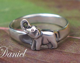 Baby Elephant Ring Sterling Silver, Yellow or Rose Gold, Elephant Jewelry, Animal Ring, Silver Elephant, Gold Elephant, Cute Elephant