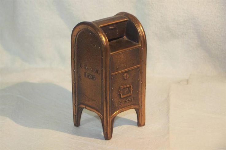 Vintage US Mail Mailbox Bronze Pot Metal Still Piggy Bank