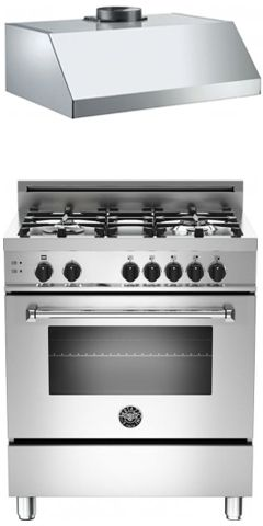 bertazzoni stainless steel kitchen package with master series gas range and free series hood