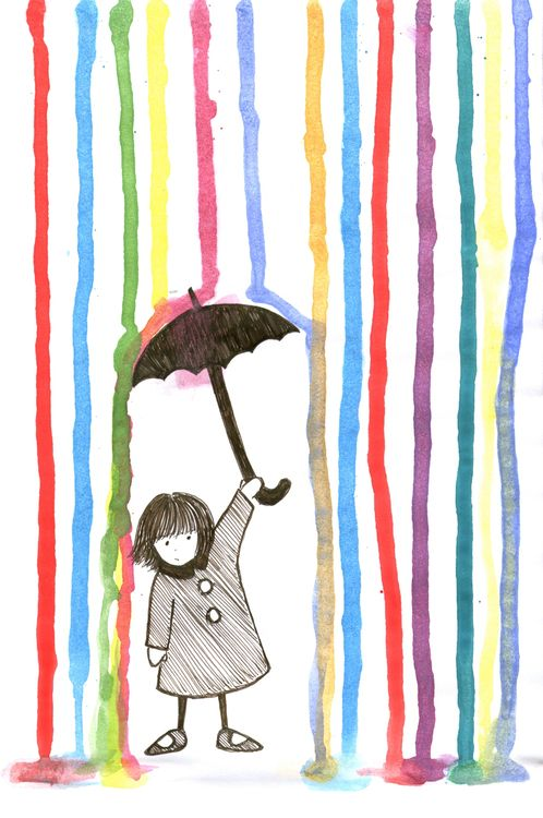 Peitä alaosaan suorakaiteen muotoinen osa esim. maalarinteipillä. Laita väritipat paperin toiseen reunaan ja nosta paperi ylös, niin, että vesiväritippa valuu toiseen reunaan. Laita kuivamaan. Kun kuivanut, sitten piirtämään sateenvarjoa kannattelevan henkilö :).