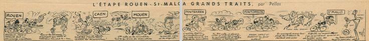 "Tour de France 1949. 5^Tappa, 4 luglio. Rouen > Saint-Malo. ""L'Etape Rouen-Saint-Malo A Grands Traits"" Pellos (René Pellarin 1900-1998) [Miroir Sprint] (www.cyclingpassions.eu)"