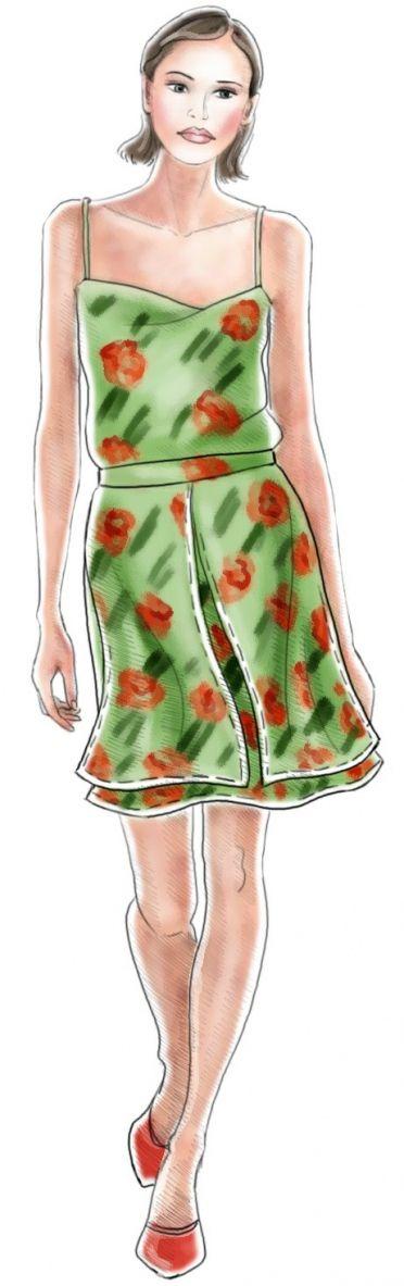 Double Skirt - Sewing Pattern #5146 In rood met blauwe bloemenstof en rode stof als underskirt