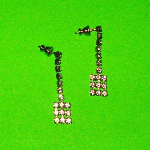 Rhinestone Fringe Earrings - Mookie Designs Vintage