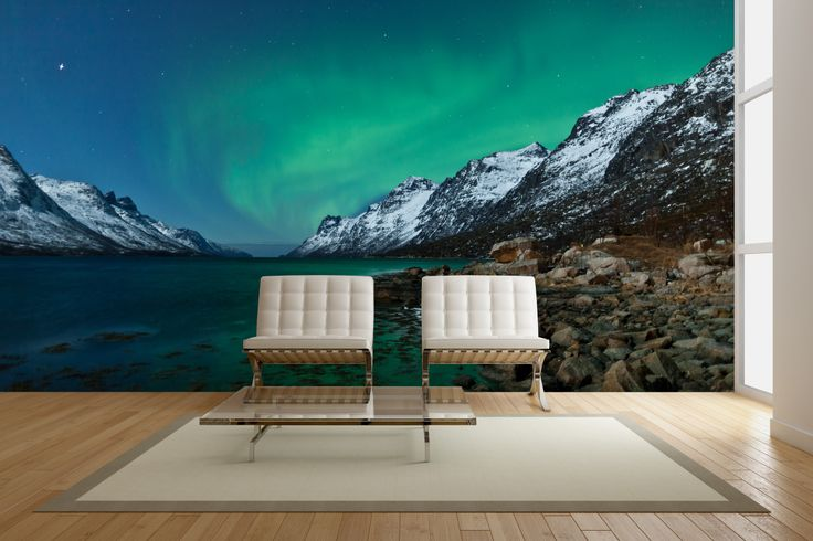 Aurora Boarealis reflected in the ocean #mural #home #decor