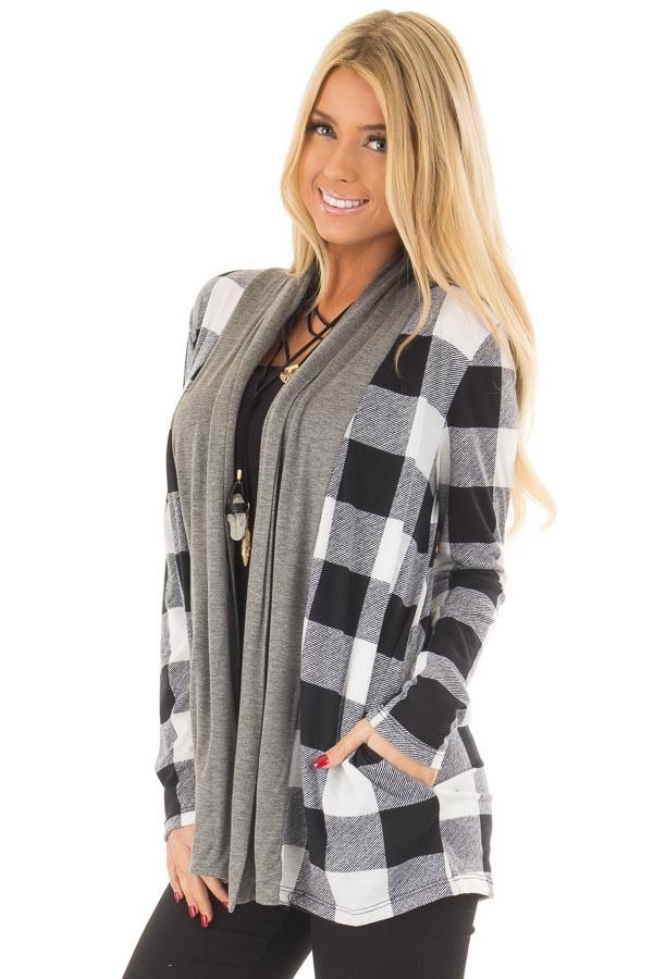 Lime Lush Boutique - Black and White Plaid Cardigan with Charcoal Contrast, $44.99 (https://www.limelush.com/black-and-white-plaid-cardigan-with-charcoal-contrast/)