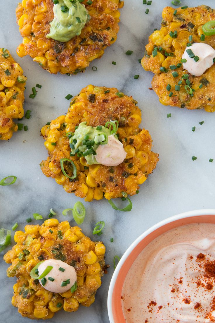Corn Fritters with Spiced Crema | Thanks to our friend @What's Gaby Cooking for this recipe!