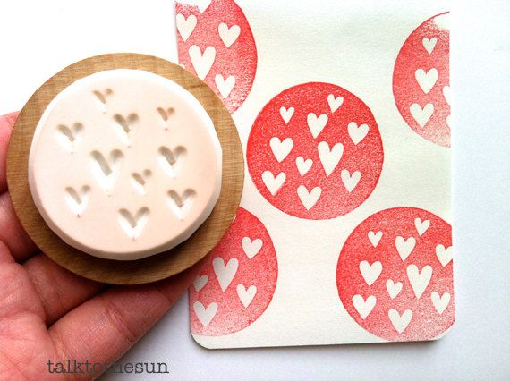 love heart rubber stamp. circle rubber stamp. hand carved stamp. hand carved rubber stamp. mounted. via Etsy