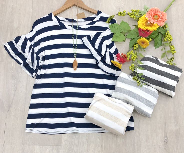 """Online Only~ """"Beatrix"""" Striped Top with Double Ruffle Sleeves, 4 colors"""