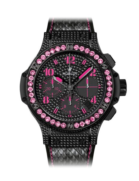 Limited EditionBlack Fluo Pink Hublot Black diamonds and pink sapphires with black python band @Rachael Budnick