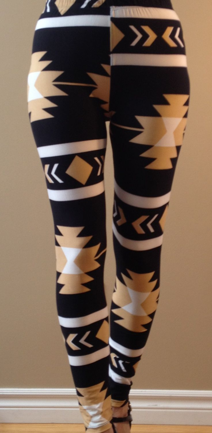 """""""Aztec Gold"""" Be bold in these black/white tan coloured leggings.  """"One size"""" - Fits most 2-12, 5'-6' tall."""