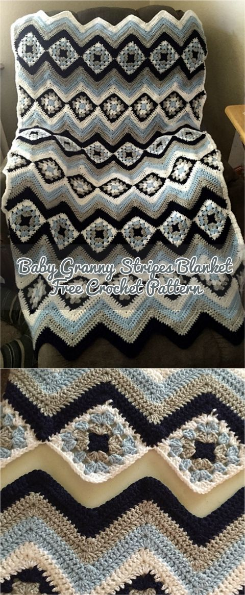 Baby Granny Stripes Blanket: Adorable crochet project... Made by crittercrafter visit pattern site!