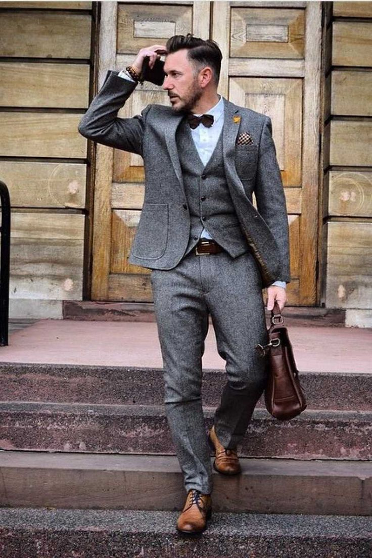 Primark: #Primania Street Style - That dapper chap wearing grey suit with matching waistcoat, shirt, bow tie and brown brogues