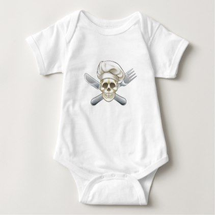 Knife and Fork Pirate Chef Baby Bodysuit - Halloween happyhalloween festival party holiday