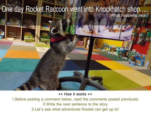 Who wants to start? ......  Before posting, read any previous comments.  Write the next sentence to the story.  Let's see what adventures Rocket Raccoon can get up to :)