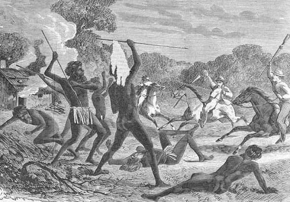 Past injustices of the conflicts between European colonisation and native Aboriginal peoples.
