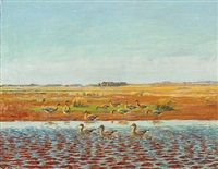 Wild geese at the shore of a lake by Johannes Larsen