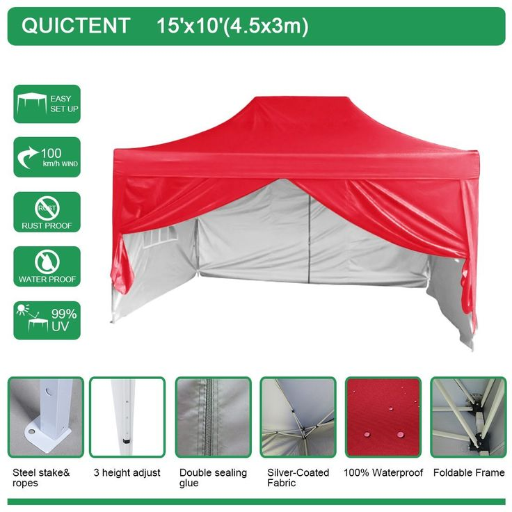 Quictent 10 X 15 4SeasonTM Portable Waterproof Red Pop Up