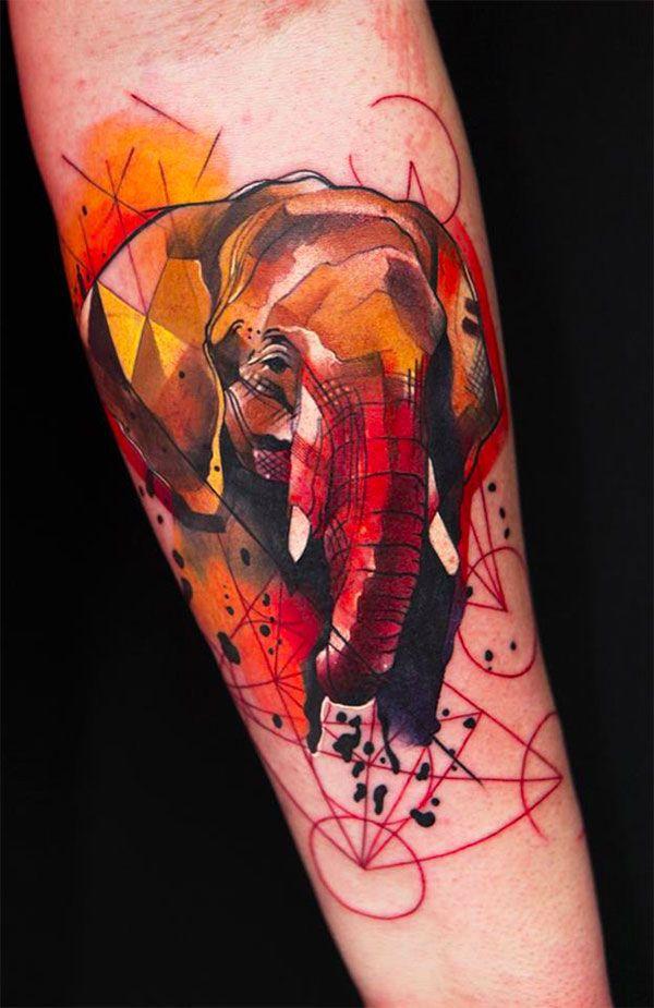 Watercolor elephant tattoo. AMAAAAZING!!!