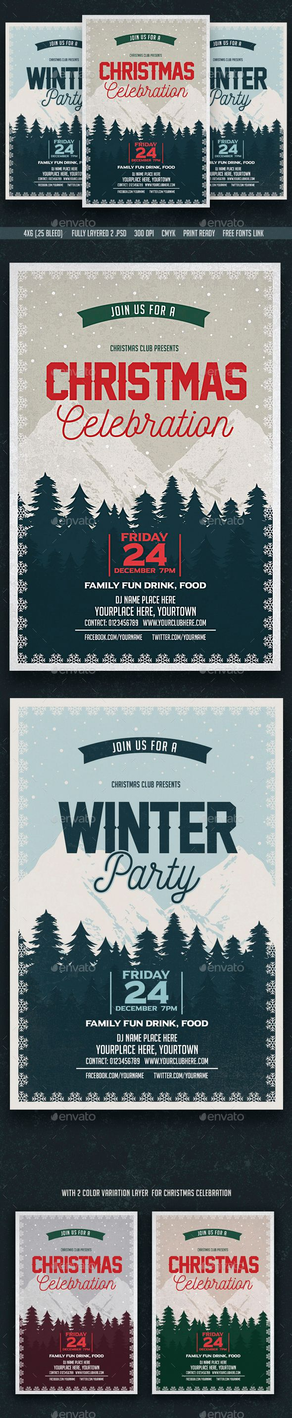 Christmas Celebration & Winter Party Flyer Template PSD #design #xmas Download: http://graphicriver.net/item/christmas-celebration-winter-party-flyer/13505209?ref=ksioks