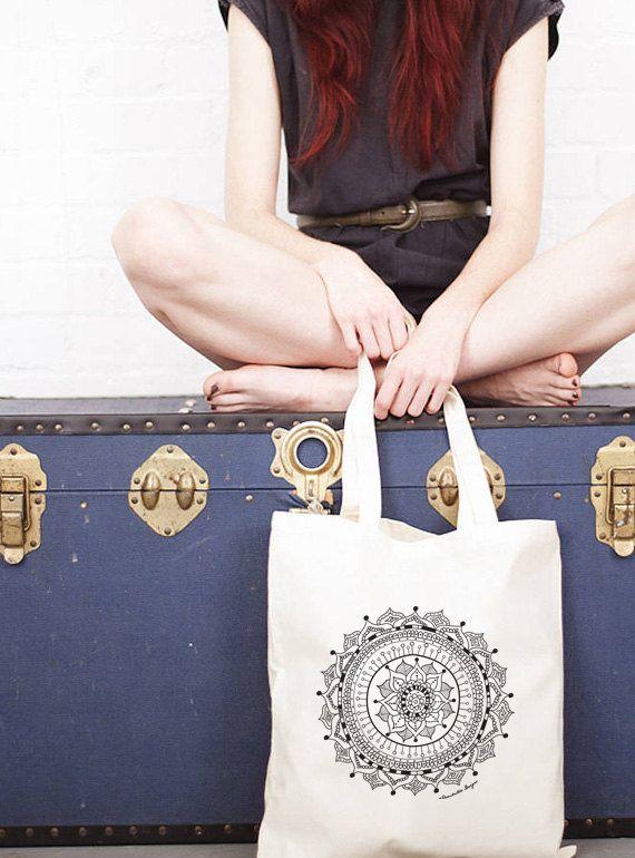 Organic Cotton Shopper Bag  Mandala Graphic  by Rambutandesigns