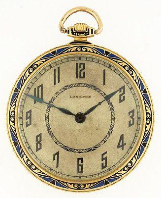 Longines 18k YG Open Face Pocket Watch 'Art-Deco', c. 1920's