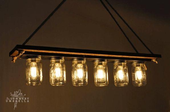 Mason Jar Chandelier | 21 Super Cool Reclaimed Wood Craft DIY Ideas