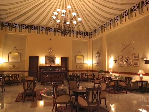 Polo Bar at the Rambagh Palace Hotel in Jaipur. Fabulous tented ceiling.