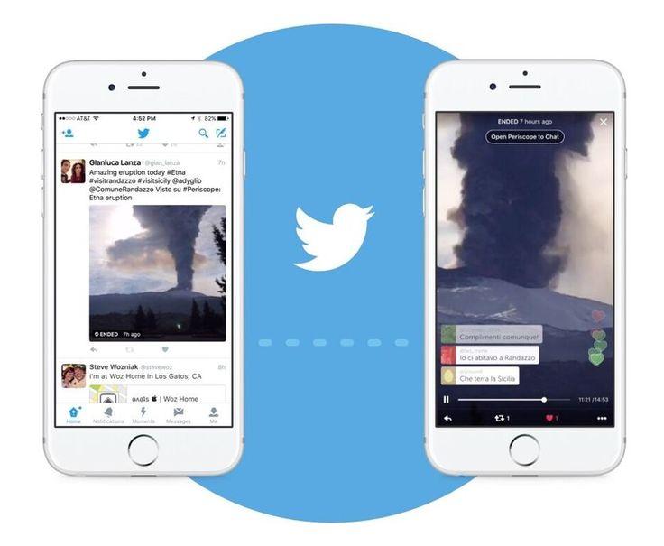 Twitter integra i video di Periscope nei tweet, gli utenti potranno visualizzare e rispondere ai live senza lasciare l'app di Twitter.  #Twitter #Periscope