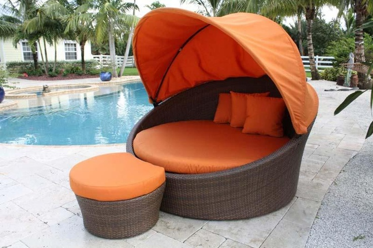 Pelican Reef Barbados Weather Resistant 2 Piece Outdoor Orbital Daybed with Canopy and Ottoman Set, Antique Finish with Cushions