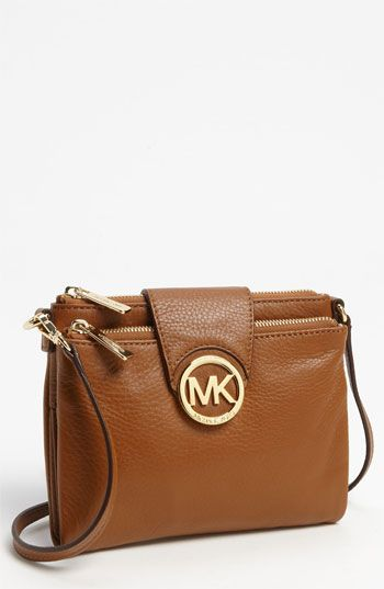 MICHAEL Michael Kors 'Fulton - Large' Crossbody Bag | Nordstrom  Really really really want/ need a brown leather purse like this, this one is my favorite I think