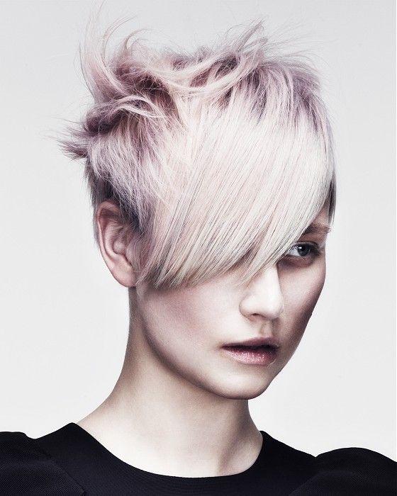 Short Blonde straight choppy coloured spikey platinum white womens haircut hairstyles for women