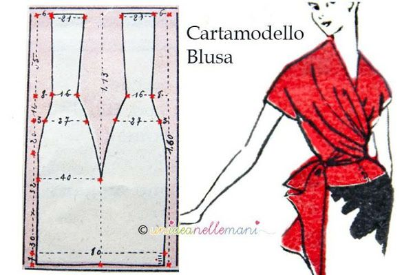 Free Pattern Draft: Cartamodello Blouse See This Page For Larger Picture: http://fotki.yandex.ru/next/users/a9172737847/album/425907/view/1255895 from www.club.osinka.ru