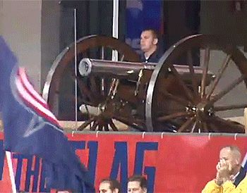 The infamous cannon of the Columbus Blue Jackets, that fires off ...