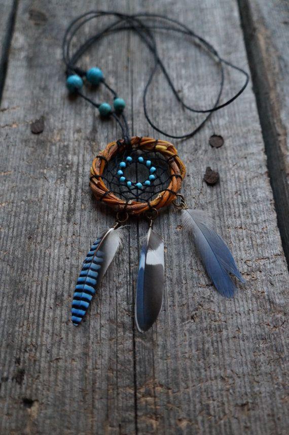 Pendant dream catcher, eco dream catcher, hand made dream catcher, blue dreamcatcher, necklace