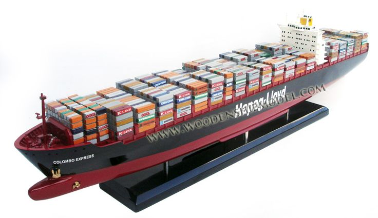 Hapag Lloyd Colombo Express Wooden Container Ship Model