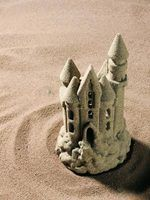 Typically seen at the beach, sand castles can be easily made at home and once hardened, used for permanent display.