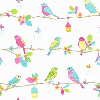 Fine Decor: Hoopla Pretty Birds Hoopla Wallpaper Blue / White