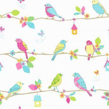 Fine Decor: Hoopla Pretty Birds Hoopla Wallpaper Blue / White