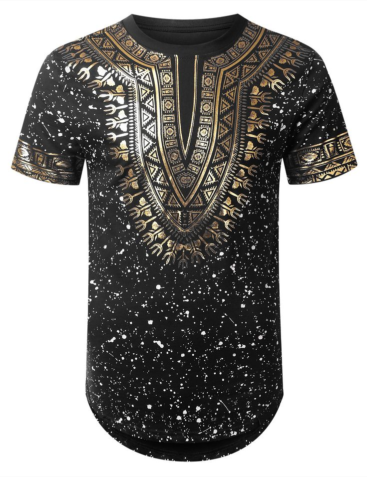 BLACK Splatter Dashiki Longline T-shirt - URBANCREWS