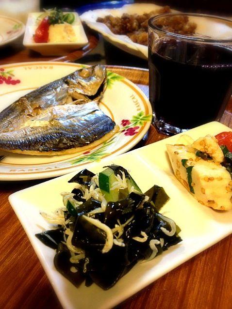 実家の母に感謝♪ - 5件のもぐもぐ - 酢の物とトマト豆腐サラダとアジ開き by yuko