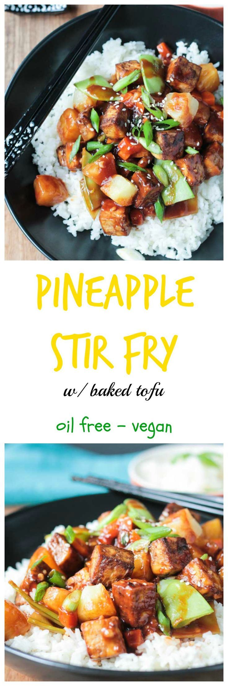 Pineapple Stir Fry w/ Baked Tofu - crisp veggies, sweet pineapple, chewy baked tofu - all smothered in a sweet, salty, sticky stir fry sauce. Dinner in under an hour! Dairy free, vegan and a gluten free option. #stirfry #pineapple #tofu #vegan #glutenfree #dinner