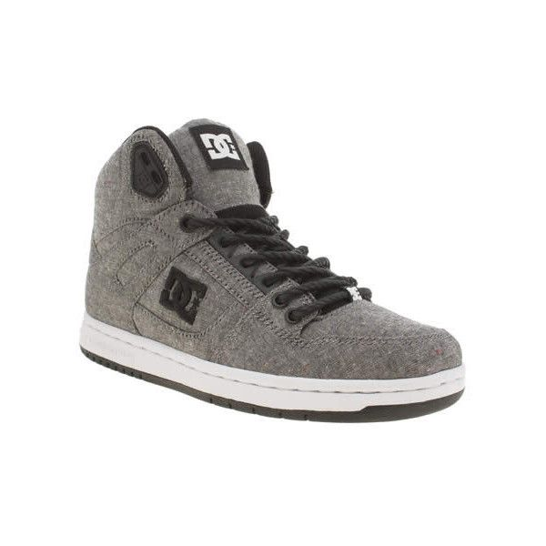 Dc Shoes Grey & Black Rebound Hi Tx Se Trainers ($51) ❤ liked on Polyvore featuring shoes, sneakers, gray shoes, grey shoes, black high-top sneakers, grey sneakers and black high top shoes